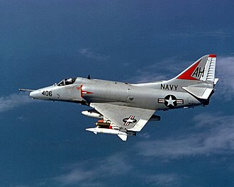 AGM-12 Bullpup - A US Navy A-4E of VA-164 from USS Oriskany (CVA-34) over North Vietnam in November 1967. The Bullpup missile is clearly visible under the port wing