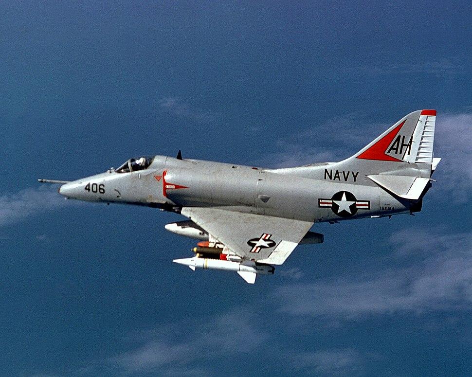Douglas A-4E Skyhawk of VA-164 in flight over Vietnam on 21 November 1967 (6430101)
