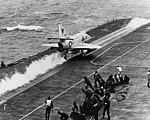 Douglas A-4E Skyhawk of VA-212 is launched from USS Bon Homme Richard (CVA-31), in March 1967 (USN 1142110).jpg