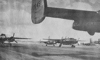 Bisbee Douglas International Airport - B-25s on the Douglas AAF parking apron, 1944
