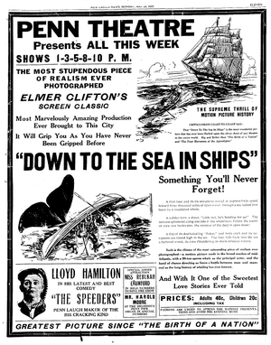 Down to the Sea in Ships (1922 film) - Newspaper ad for Penn Theater in New Castle, Pennsylvania