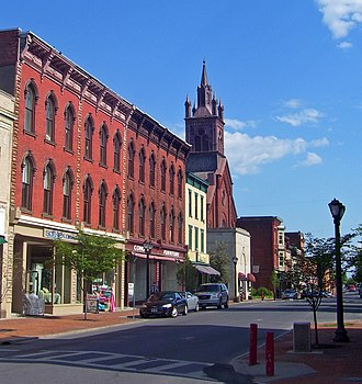 Downtown Cohoes Historic District - View south down Remsen Street from Ontario Street, 2008
