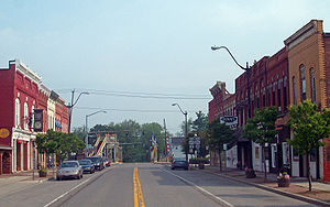 Middleport, New York - View north along Main Street towards canal