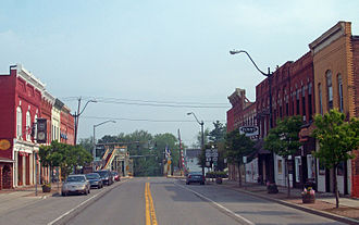 New York State Route 271 - Looking north along Main Street (NY 31E and NY 271) in Middleport. NY 31E leaves NY 271 in the background at State Street.