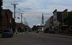 Morrisville, Vermont - Downtown Morrisville, looking east along Main Street