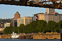 Downtown Portland, including the KOIN Center and the Wells Fargo building, viewed from the Willamette River
