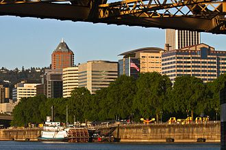 Downtown Portland, Oregon - Downtown Portland, including the KOIN Center and the Wells Fargo building, viewed from the Willamette River