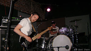 """Dredg - Roulette and Campanella during a concert at """"The Exit"""" in Fresno, California on April 23, 2008."""