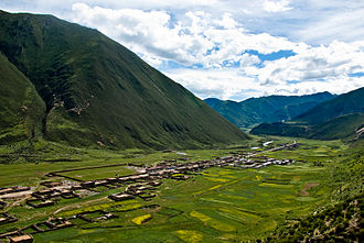 View of the valley from Drigung Monastery Drigung monastery3.jpg
