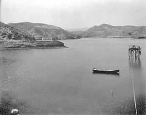 Dry Canyon Reservoir - Looking north across the reservoir when filled with water. Photo taken before 1936.