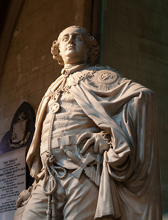 Statue sculpted by Edward Smyth in 1783, showing Buckingham in the robes of a Knight of the Order of St Patrick Dublin St. Patrick's Cathedral North Aisle Statue of George Grenville Nugent Temple 2012 09 26.jpg