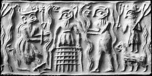 Comparative mythology - Ancient Sumerian cylinder seal impression showing the god Dumuzid being tortured in the Underworld by galla demons