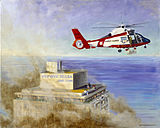 Painting of helicopter rescue efforts at the Dupont Plaza Hotel fire