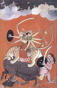 Devi portrayed as Mahishasura Mardini, Slayer of the Buffalo Demon – a central episode of the Devi Mahatmya, and one of the most famous in all of Hindu mythology.