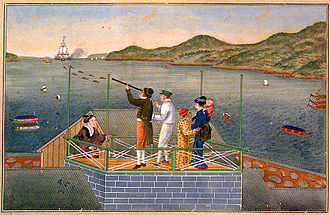Philipp Franz von Siebold - Kawahara Keiga: Arrival of a Dutch Ship. Siebold at Dejima with his Japanese lover Kusumoto Otaki and their baby-daughter Kusumoto Ine observing with a teresukoppu (telescope) a Dutch ship towed into Nagasaki harbour