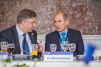 Andrej Plenković - Plenković with former Slovenian Prime Minister Janez Janša