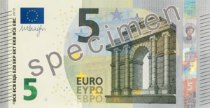 2007 enlargement of the European Union - 5 euro note from the new Europa series written in Latin (EURO) and Greek (ΕΥΡΩ) alphabets, but also in the Cyrillic (ЕВРО) alphabet, as a result of Bulgaria joining the European Union in 2007.