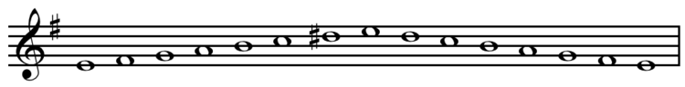 E harmonic minor scale ascending and descending