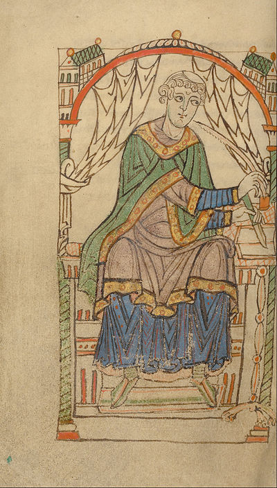 A 12th-century illumination of Eadmer composing Anselm's biography Eadmer of Canterbury Writing - Google Art Project.jpg