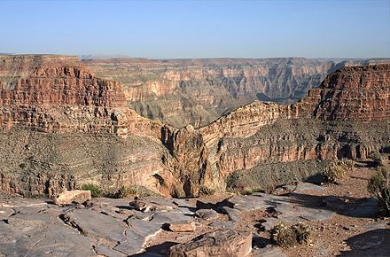 Eagle Rock (located at Eagle Point) on the West Rim, named for its shape, is considered sacred by the Hualapai Indians. EagleRock.jpg