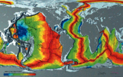 Chart showing Earth's seafloor crust ages.