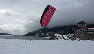 Chris Cousins kiteboarding in Switerland.
