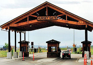 Eielson Air Force Base - Hursey Gate at Eielson, the primary access point to and from the base.  A partial interchange was built on the Richardson Highway in conjunction with the relocation and rebuilding of the gate.