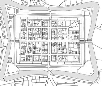 History of urban planning - Plan of Elburg in The Netherlands, based on the cadastral plan of 1830. Elburg was founded in 1392 by Arent toe Boecop, steward of the duke of Gelre. Arent seems to have acted as a private entrepreneur. He had bought a piece of land next to the existing town, and he obtained permission from his lord to extend and rebuild the town, and to resettle the population of the surrounding area, selling the house lots to the settlers. The highly symmetrical layout is centred on a canalised river and an intersecting street. The symmetry is disturbed, however, by the church in the eastern corner and by the pre-existing street (the only curved one in the whole town) on the northwest side. The corner bastions and the wide outer ditch were added in the late 16th century.