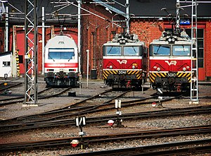 Electric locomotives at Turku railway station.