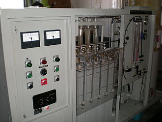 Water splitting - Electrolyser front with electrical panel in foreground