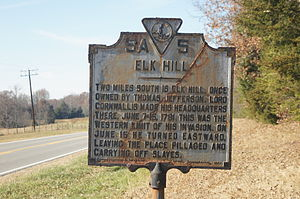 Elk Hill (Goochland, Virginia) - Historical marker at Elk Hill.