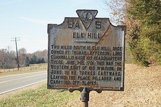 Elk Hill (Goochland, Virginia) - Historical marker at Elk Hill.