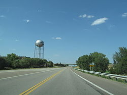 Ellsworth water tower as seen from Kansas State Highway 156 in 2012