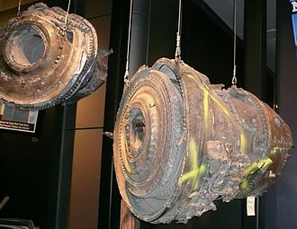 United Airlines Flight 175 - Airplane engine parts from Flight 175.
