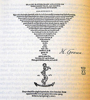 <i>Adagia</i> Collection of Greek and Latin proverbs, compiled by Erasmus of Rotterdam