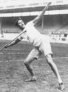 Eric Lemming vid OS i London 1908.