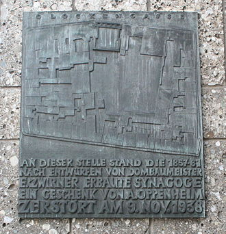 Glockengasse Synagogue - Plaque commemorating the Glockengasse synagogue