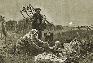 Grain cradle - A reaper with a cradle scythe; original painting by Ernst Henseler (1852–1940)