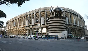 Santiago Bernabéu Stadium - Castellana southwest external view of the stadium
