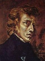 Frédéric Chopin und George Sand, zwei Teile eines Bildes von Eugène Delacroix, 1838. Das unvollendete Gemälde (Öl auf Leinwand) wurde nach dem Tod des Malers 1863 zerschnitten und die beiden Teile einzeln verkauft. Sie hängen heute in Paris (Chopin: 46 × 38 cm, Musée du Louvre) und Kopenhagen (George Sand: 79 × 57 cm, Ordrupgaard Museum). (Quelle: Wikimedia)