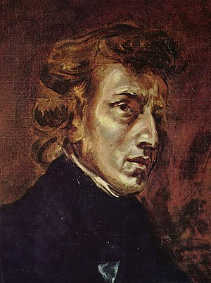 Chopin, by Delacroix, 1838. Part of joint port...
