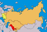 Orange: Eurasec member states.Yellow: Observer status.