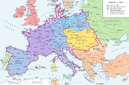 First French Empire and French satellite states in 1812 Europe 1812 map en.png