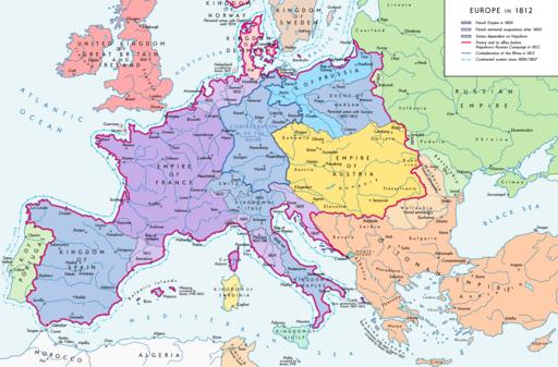 Europe 1812 map en