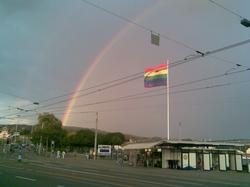 Europride flag, Buerkliplatz, Zurich, Switzerland, 2009