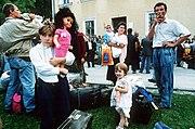 Refugees arrive in Travnik, central Bosnia, during the war, 1993. Photo by Mikhail Evstafiev