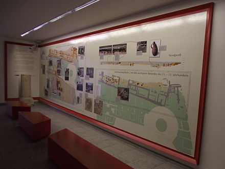 Permanent exhibition in a German multi-storey car park, explaining the archaeological discoveries made during the construction of this building Exhibition in a multi-storey car park on archological discoveries having been made during construction.JPG