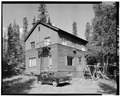 FRONT CORNER, LOOKING NORTHWEST - Mount McKinley Headquarters, Employee Residence, Cantwell, Denali Borough, AK HABS AK,23-MCKIN,1-B-1.tif