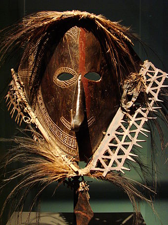 Ritual face mask from a Torres Strait Island (19th century). Face mask torres strait.JPG