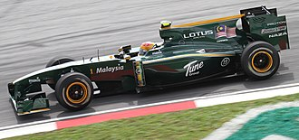 Tune Group - Lotus Racing car with Tune Group logos.